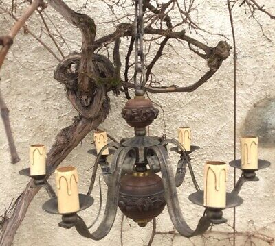 Vintage French Iron Strap and Carved Rose Wood Chandelier French Country Large