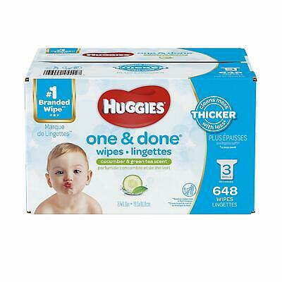 Huggies One & Done Scented Baby Wipes, Hypoallergenic, 3 Refill Packs, 648 Count