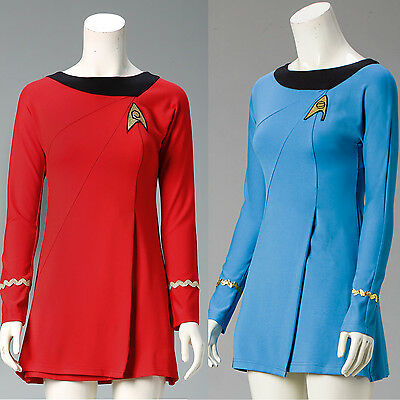 Star Trek Female Duty TOS Uniform Summer Dresses Red// Blue XS-XXXL