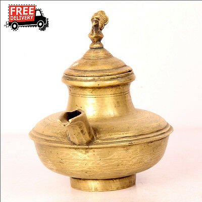 1930S Old Brass Solid Peacock Shape Handcrafted Holy Water Pot, Rich Patina 7585