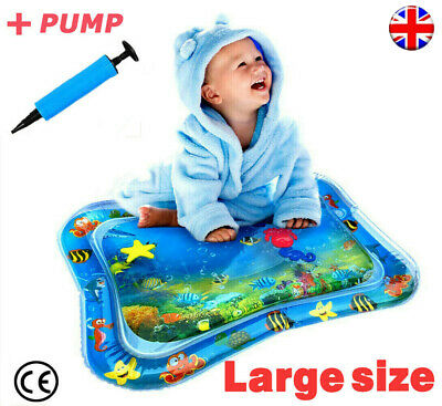 Free Pump+ Inflatable Water Play Mat Infants Baby Toddlers Kid Fun Tummy Time UK
