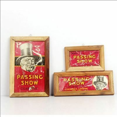 VINTAGE WOODEN passing show CIGARETTES LONDON AD LITHO TIN SIGN BOARD 6634