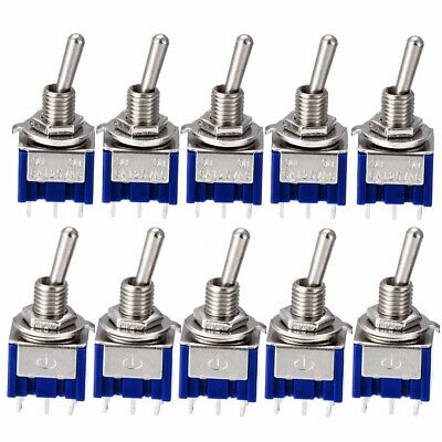 5/10X UK Miniature 6A 125V AC 6Pin DPDT ON-ON Mini Flick Toggle Switch Switches
