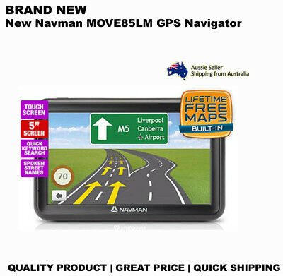 "NEW Navman MOVE85LM 5"" Touch GPS with Speed Premium Safety Alerts Life Time Map"