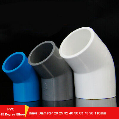 Inner Diam 20~75mm PVC 45 Degree Elbow Connectors Water Supply Pipe Fittings