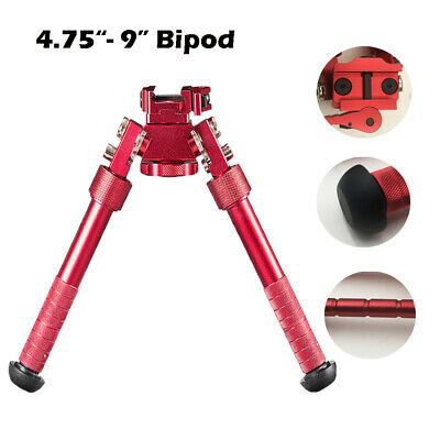 """Red Bipod 4.75""""-9"""" Foldable 20mm Picatinny Rail Mount Adjustable Stainless Steel"""