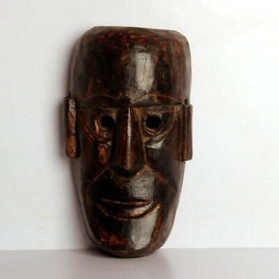 Antique Look African Hand Carved Wooden Tribal Haloween Mask Wall Hanging 10875