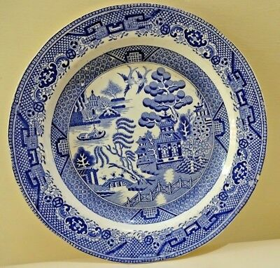 Antique English Staffordshire blue and white transferware Platte Blue Willow #F