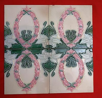 ANTIQUE TILE VINTAGE MAJOLICA ART NOUVEAU PORCELAIN CERAMIC FLOWER DESIGN 4 Pc