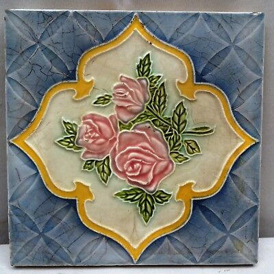 Ceramics & Porcelain Antiques Antique Ceramic Tile Porcelain Miniature Rose Floral Design Saji Japan Rare Old*