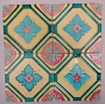Majolica Tile Vintage Art Nouveau Ceramic Glazed Dk Japan Geometric Pattern #249