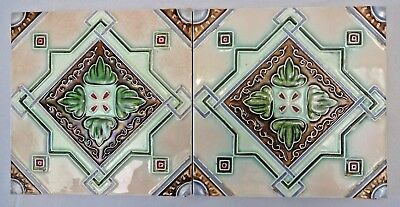 Majolica Tile Vintage Art Nouveau Ceramic Glazed Dk Japan Rare Collectibles #455