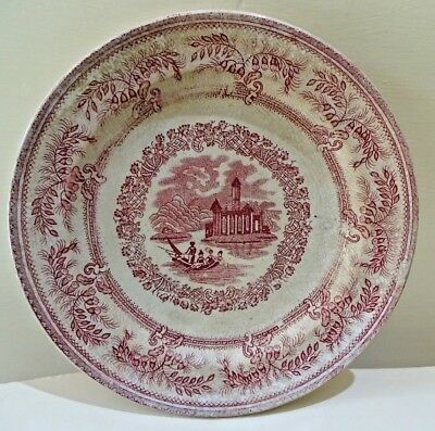 Antique English Staffordshire Red transferware Platte English Cottage River 2#F