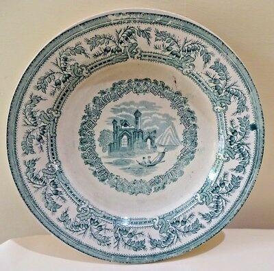 Antique English Staffordshire Green transferware Platte English Cottage River#F