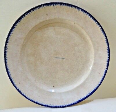 Pearlware Feather Edge Antique Dinner Soup Plate Blue 19th c. Staffordshire 2#F