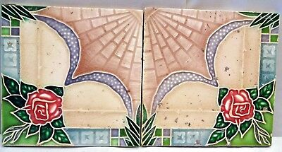 TILE MAJOLICA CERAMIC PORCELAIN ART NOUVEAU VINTAGE JAPAN RARE COLLECTIBLE 2pc#5