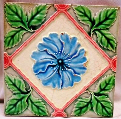 Tile Majolica Saji Japan Vintage Art Nouveau Flower Rose Porcelain Collectib#263