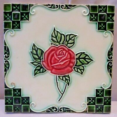 Tile Rose Red Majolica Japan Dk Vintage Art Nouveau Porcelain Collectibles#241