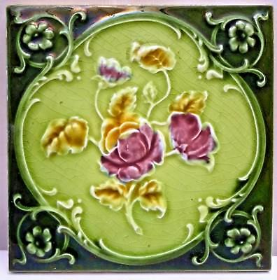 Tile Majolica Art Nouveau England Porcelain Rose Purple Architecture Collect#117