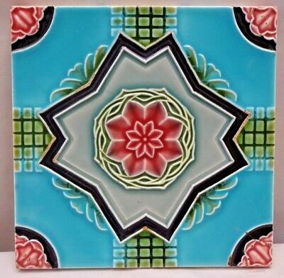 Tile Porcelain Ceramic Art Nouveau Majolica Flower Vintage Japan Dk Rare #198