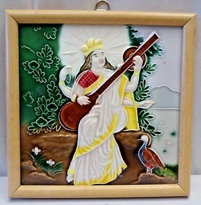 Tile Japan Saraswati Vintage Raja Ravi Varma Painting Subject Art Majolica # 388