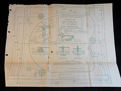 TEMPLATE for GARRARD A.T 60 SERIES AUTO TURNTABLE Blueprint Part No. 72618 RARE!