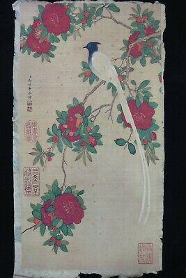 """Very Large Old Chinese Hand Painted Flowers and Birds """"LangShiNing"""" Marks"""