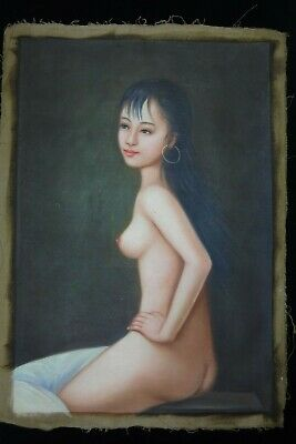 Original Body Old Large Chinese Hand Oil Painting Beautiful Nude Woman Signed