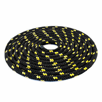 6 mm Braided Polypropylene Poly Rope Cord Boat Yacht Sailing Black with spots