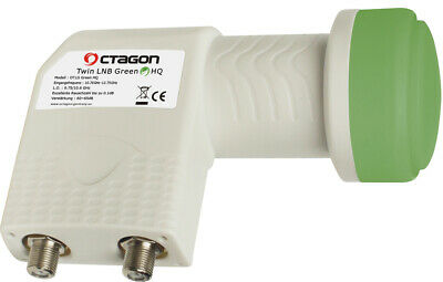 Octagon Green HQ OTLG PLL 0.1dB Twin LNB for Radio, Freesat, Satellite, Sky TV
