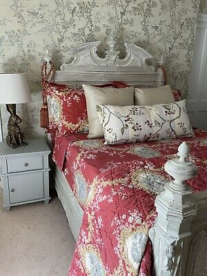 Antique French Late Victorian Bed, Shabby Chic, Painted With Zoffany French Grey