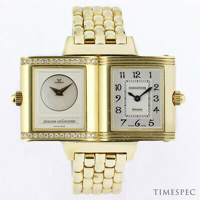 JAEGER-LECOULTRE Reverso Duetto 18K Yellow Gold Diamonds With Box Ref. 266.1.44
