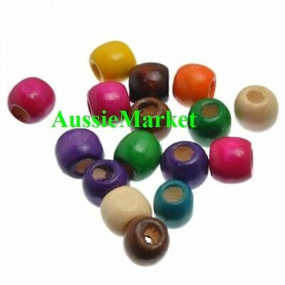50 x wooden wood painted beads 12mm x 11mm mixed colours coloured large big hole