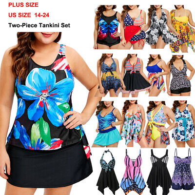 Women Padded Tankini Swimdress Swimsuit Beach Swimwear Bathing Bikini Plus Size