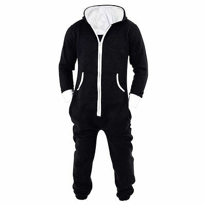 2019HOT Mens Womens Unisex Hooded Zip Jumpsuit Onesie0 Black