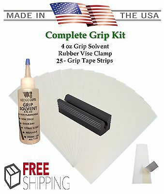 Golf Club GRIP KIT 25 Grip Tape Strips-Solvent-Vise Clamp-Regripping Directions