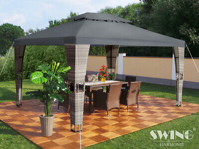 "Swing & Harmonie LED- Luxus Rattan Pavillon - ""Royal"" - 3x4 m schwarz/anthrazit"