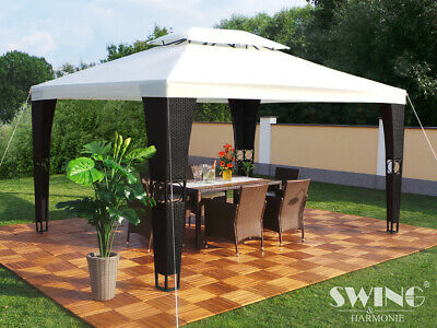 "Swing & Harmonie LED- Luxus Rattan Pavillon - ""Royal"" - 3x4 m schwarz/creme"