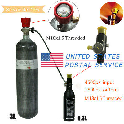 CE 4500psi/300Bar SCUBA Diving 3L Gas Cylinders With Regulator M18x1.5 Threaded