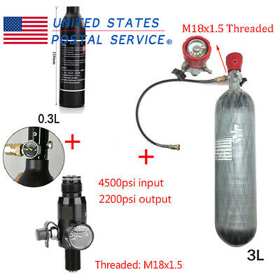 4500Psi HPA 3L Air Tank Carbon Fiber Regulator 0.3L Tank Fill Paintball Game CE