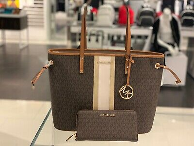 875a5939a20b Michael Kors Jet Set Travel Large Drawstring Stripe Tote in Brown /PLGOLD+Wallet