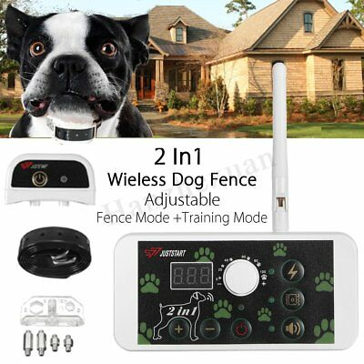 Wireless Electric Pet Dog Fence Training Containment System Transmitter Collar