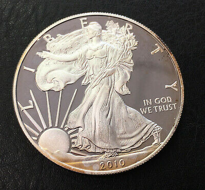 1 OZT 2010 W Proof Silver American Eagle Dollar Raw Coin - No Reserve