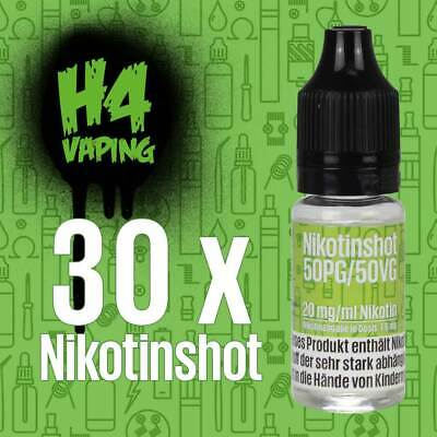 30 x 10ml Nikotin Shot - 30 Shots mit 20mg/ml Nikotinshots Basis Base e-Liquid