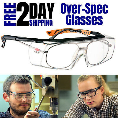 Safety Goggle Over Prescription Glasses Adjustable Protective Eyewear Clear Lens