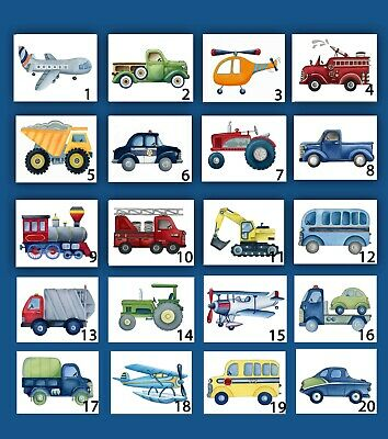 Construction and Transportation Wall Art Prints for Nursery Bedroom or Playroom