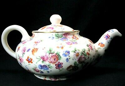 Erphila Dorset Gold Trim Cheery Chintz 2 Cup Mini Teapot Germany EVC