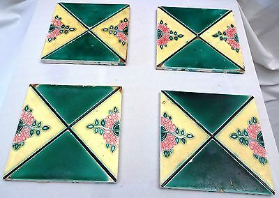 Antique Tiles Art Nouveau Vintage Majolica Tile Flower Design 4 Pieces Set Rare