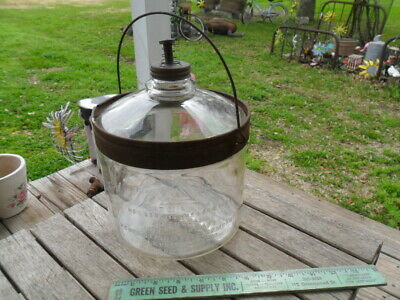 Vintage Perfection Stove Co. Kerosene Oil Glass Bottle with Bail Handle and Lid