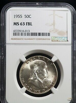 NGC 1955 MS 63 FBL Franklin Silver Half Dollar 50C Uncirculated Coin